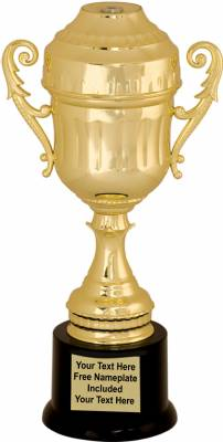 10 1/4 inch Gold Plastic Completed Cup Trophy