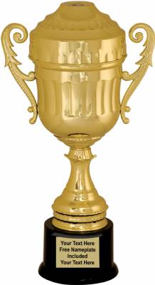 "13 7/8"" Gold Plastic Trophy Cup with  Lid"