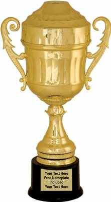 "15 1/2"" Gold Plastic Trophy Cup with  Lid"
