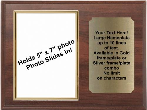 9 X 12 Cherry Finish Plaque with Gold 5 x 7 Photo Holder