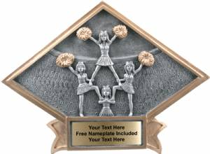 "6"" X 8 1/2"" Cheerleading Diamond Trophy Plate Hand Painted"