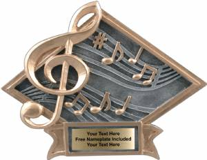 "6"" X 8 1/2"" Music Diamond Trophy Plate Hand Painted"