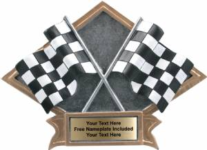 "6"" X 8 1/2"" Racing Diamond Trophy Plate Hand Painted"