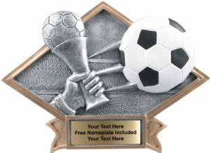"6"" X 8 1/2"" Soccer Diamond Trophy Plate Hand Painted"