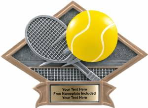 "6"" X 8 1/2"" Tennis Diamond Trophy Plate Hand Painted"