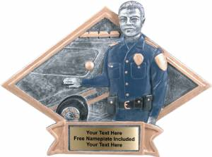 "6"" X 8 1/2"" Policeman Diamond Trophy Plate Hand Painted"
