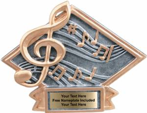 "4 1/2"" X 6"" Music Diamond Trophy Plate Hand Painted"