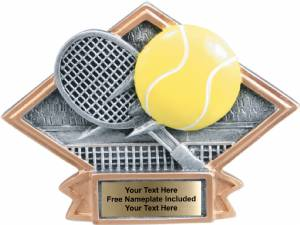 "4 1/2"" X 6"" Tennis Diamond Trophy Plate Hand Painted"