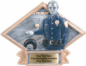 "4 1/2"" X 6"" Policeman Diamond Trophy Plate Hand Painted"