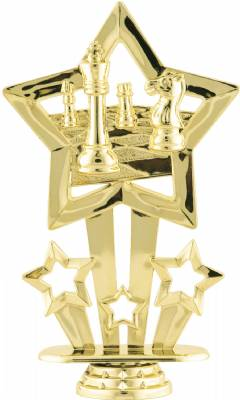 "Gold 6"" Star Themed Chess Board Trophy Figure"