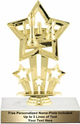 "Gold 6 3/4"" Star Themed Chess Board Trophy Kit"