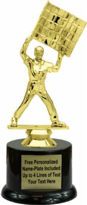 "7"" Racing Flagman Trophy Kit with Pedestal Base"