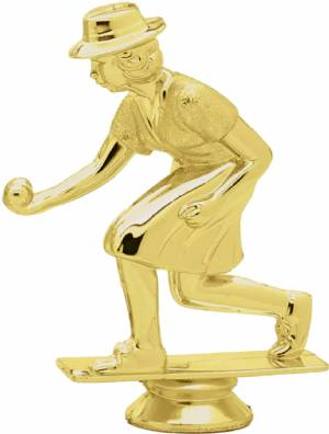 "Gold  4 1/2"" Female Lawn Bowling Trophy Figure"