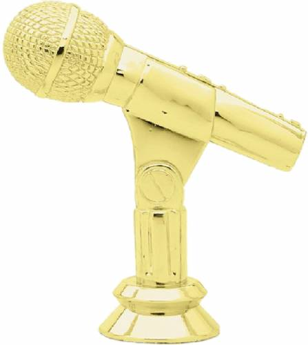 "Gold 3 3/4"" Microphone Trophy Figure"