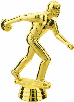 "Gold  4-3/4"" Male Bowler Trophy Figure"