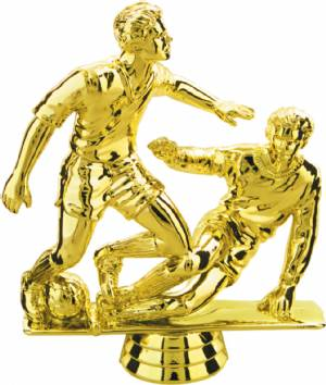 "Gold 5"" Male Double Action Soccer Trophy Figure"