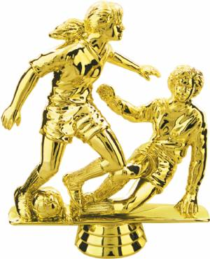 "Gold 5"" Female Double Action Soccer Trophy Figure"