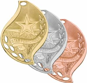 "2 1/4"" Star Performer Flame Series Medal"