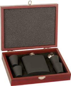 Matte Black Stainless Steel Flask Set Rosewood Finish Box