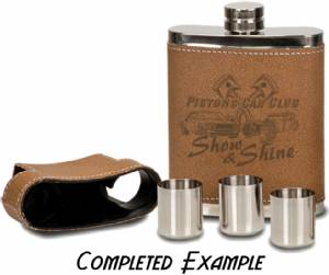 7 oz Engraveable Leather wrapped Flask with Shot Glasses