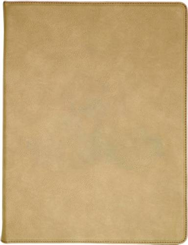 "9 1/2"" x 12"" Light Brown Leatherette Portfolio with Notepad"