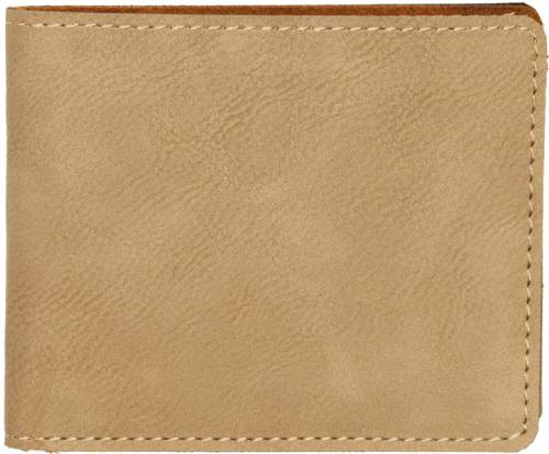 4 1/2 inch Light Brown Leatherette Bifold Wallet
