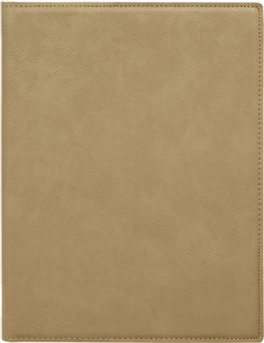 "7"" x 9"" Light Brown Leatherette Portfolio with Notepad"