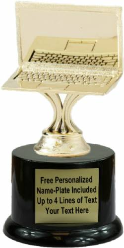 "5"" Gold Computer Laptop Trophy Kit with Pedestal Base"