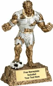 "6 3/4"" Monster Hand Painted Resin Soccer Trophy"