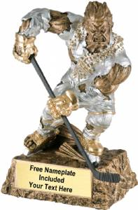 "6 3/4"" Monster Hand Painted Resin Hockey Trophy"