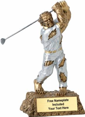 "6 3/4"" Monster Hand Painted Resin Golf Trophy"