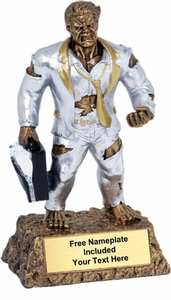 "6 3/4"" Monster Hand Painted Resin Salesman Trophy"