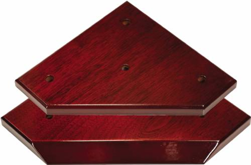High Gloss Mahogany Finish Slant Front 3-Post Trophy Base and Lid Set