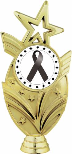 "Gold 6 3/4"" Black Ribbon Awareness Trophy Figure"