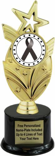 "8 3/4"" Black Ribbon Awareness Trophy Kit with Pedestal Base"