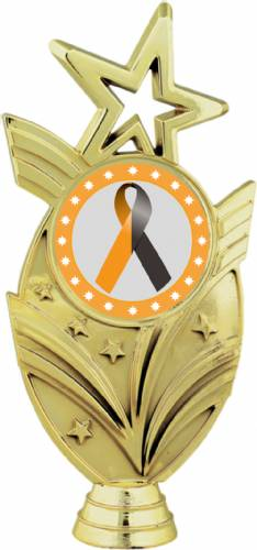 "Gold 6 3/4"" Black Orange Ribbon Awareness Trophy Figure"