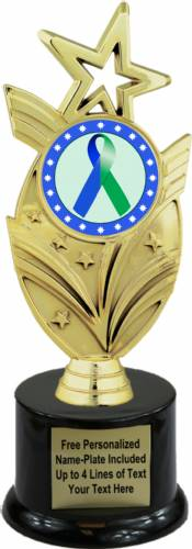 "8 3/4"" Blue Green Ribbon Awareness Trophy Kit with Pedestal Base"