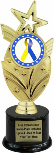 "8 3/4"" Blue Yellow Ribbon Awareness Trophy Kit with Pedestal Base"