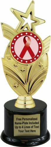 "8 3/4"" Burgundy Ribbon Awareness Trophy Kit with Pedestal Base"