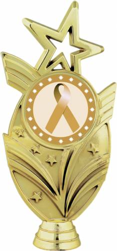 "Gold 6 3/4"" Gold Ribbon Awareness Trophy Figure"