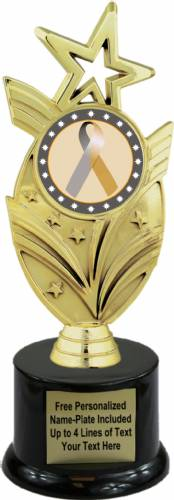 "8 3/4"" Gold Silver Ribbon Awareness Trophy Kit with Pedestal Base"