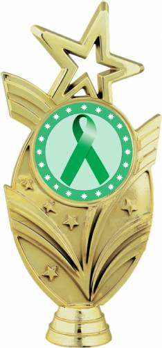 "Gold 6 3/4"" Green Ribbon Awareness Trophy Figure"