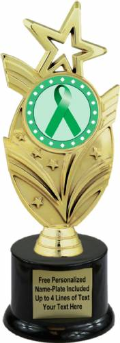 "8 3/4"" Green Ribbon Awareness Trophy Kit with Pedestal Base"