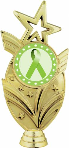 "Gold 6 3/4"" Lime Green Ribbon Awareness Trophy Figure"