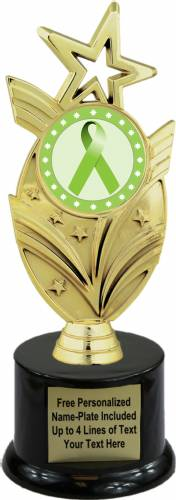 "8 3/4"" Lime Green Ribbon Awareness Trophy Kit with Pedestal Base"