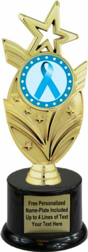 "8 3/4"" Light Blue Ribbon Awareness Trophy Kit with Pedestal Base"