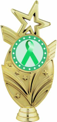 "Gold 6 3/4"" Light Green Ribbon Awareness Trophy Figure"