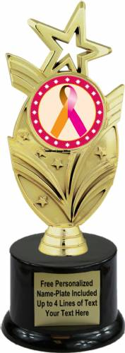 "8 3/4"" Orchid Orange Ribbon Awareness Trophy Kit with Pedestal Base"