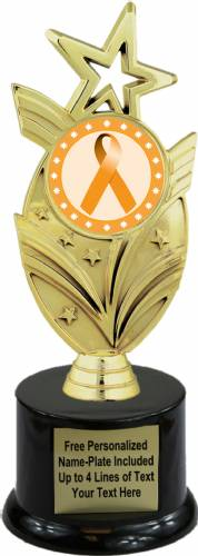 "8 3/4"" Orange Ribbon Awareness Trophy Kit with Pedestal Base"