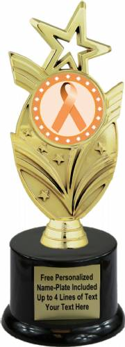 "8 3/4"" Peach Ribbon Awareness Trophy Kit with Pedestal Base"